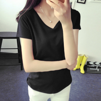 2016 korean version of the new solid color simple v-neck t-shirt short sleeve loose t-shirt female summer clothes bottoming shirt (Black)