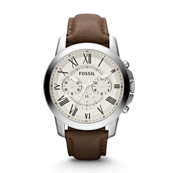 Harga Fossil Grant Chronograph Leather Watch - Brown FS4735