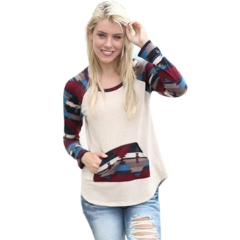 Harga Stylish Ladies Women Casual All-match O-neck Long Sleeve Print T-shirt - intl