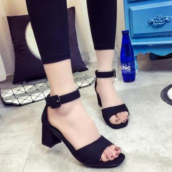 JOY Korean fashion with thick sandals Black - intl Price in Singapore