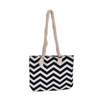 Harga Women Canvas Beach Shoulder Bag Wave Handbag Shopping Tote Messenger Satchel Bag Wave Black - intl