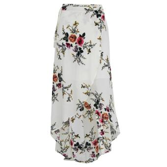 Harga Woen Print Irregular Splits Long Skirt Chiffon axi Beach Skirts