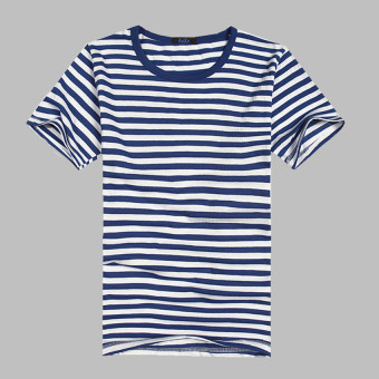 Harga Men's Short Sleeve O-neck Striped T-shirt (Navy blue)