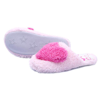 3D Heart Pink Home Slippers - Size 38-39
