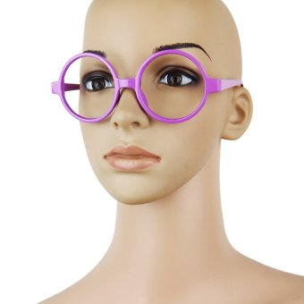 Harga Fancy Round Frame Party Dress Big Nerd Eyeglasses Glasses Frame No Lens Purple - intl
