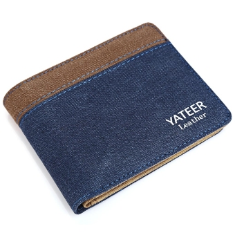Harga Patchwork Letter Open Horizontal Canvas Wallet for Men Women (Blue) - intl