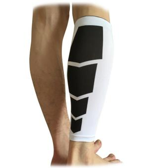 1Pc Men Women Cycling Leg Warmers Calf Support Shin Guard Base Layer Compression Running Soccer Football Basketball Leg Sleeves(Black White/XL)
