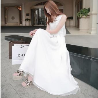 Harga Summer Fashion Sweet Chiffon Sundress Long Dress White - intl