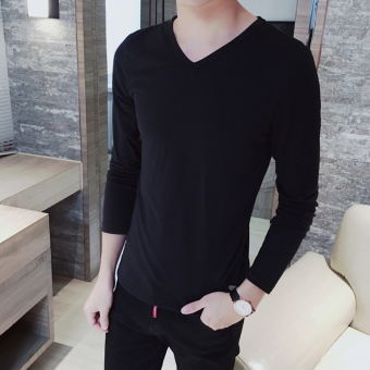 Harga 2016 autumn dress New style long-sleeved t-shirt men V-neck solid young men's T-shirt Korean-style tide bottoming shirt men Top autumn and (V-neck long sleeve-black)