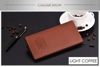 Harga Lichee Pattern Letter Open Soft Vertical Long Wallet Men(Light coffee)