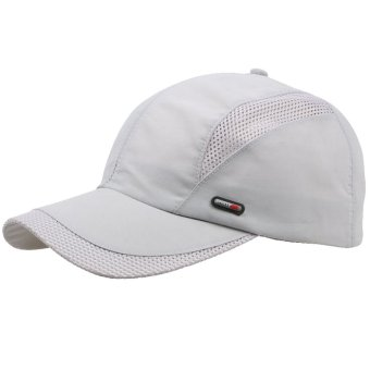 Unisex Summer Outdoor Sport Breathable Quick Dry Baseball Caps Solid Adjustable Hat Gray