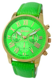 Harga BlueLans Geneva Roman Numerals Faux Leather Watch (Light Green)