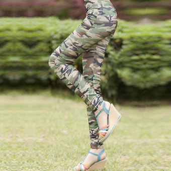 New Cool Ladies Womens Camouflage Army Print Stretch Graffiti Style Slim Skinny Fit Casual Leggings - Intl