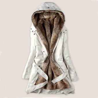 Harga Womens Winter Fur Hooded Collar Slim Long Jacket Down Parka Coat Clothing for Women female (Beige)