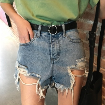 Summer Women's New style Korean-style chic loose Slimming effect wild retro fashion wash hole denim shorts