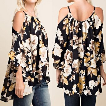 Harga ZANZEA Fashion Women Tops 3/4 Sleeve Floral Blouse Off Shoulder Sexy Clothing Top - intl