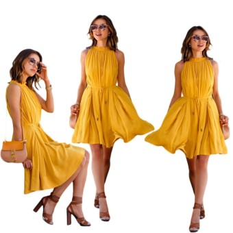Harga Summer Women Casual Beach Dress Sexy Sleeveless Bandage Dress(Yellow) - intl