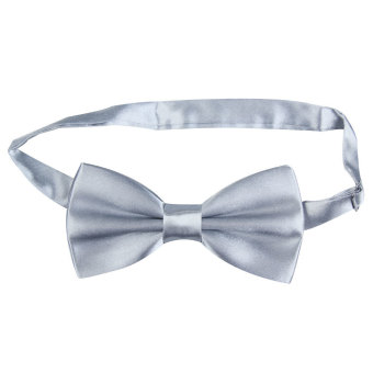 Harga Man Boy Bowtie Polyester Silk Pre Tied Classic Wedding Bow-tie Grey - intl
