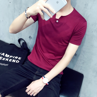 2016 summer new short sleeve t-shirt MALE korean version of the influx of men and men's V-NECK t-shirt men's clothing solid color shirt (Red wine)