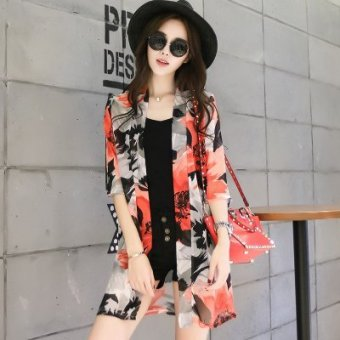 Harga Summer sunscreen chiffon shirt women's cardigan long sleeve sun protection clothing transparent sun protection clothing thin coat shawl (No. 3)