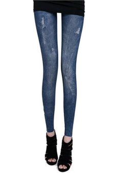 Astar Lady Women Stretch Pants Skinny Leggings Jeans ( Blue )(Export)