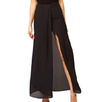 Harga 360WISH Split Front Irregular Chiffon Maxi Skirt Black-S - intl