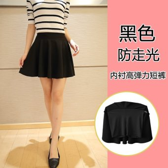 Sexy plain flared anti emptied short skirt women pleated skirts sheds (Black)