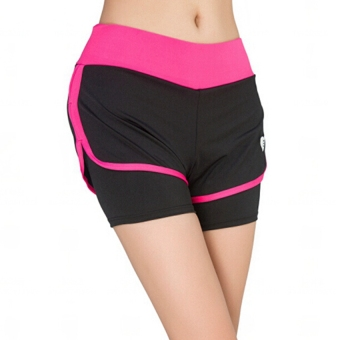 Harga Women yoga Running Sport Shorts Fitness Gym Fake Two-Pieces Causal Shorts breathable Shorts Ladies Running Jogging short