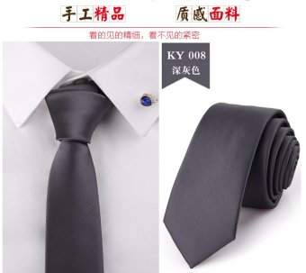 Harga 5CM korean version of the NARROW tie solid color glossy black male business casual wedding dress the groom fashion british style (Dark gray)