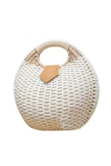 YBC Women Straw Bags Nest Tote Bag Summer Beach Small Handbag White - intl