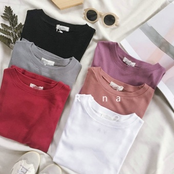 Harga Rena with good helper spring and summer Korea Slim fit Slimming effect round neck solid color good texture bottoming shirt short-sleeved t-shirt (Pink)
