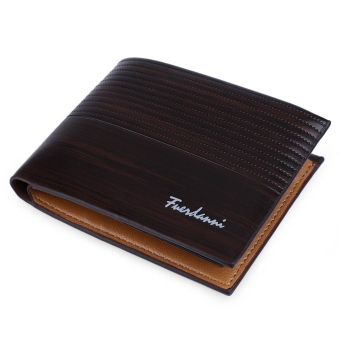 Harga Stripe Pattern Letter Embellishment Open Horizontal Wallet for Men (Coffee)