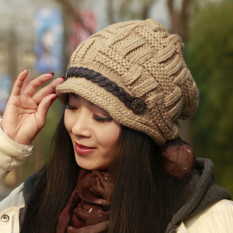 Korean-style female warm ear pile Pile Cap wool cap