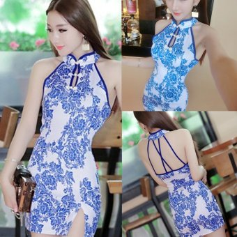 Sexy nightclub dress summer korean women sexy nightclub halter backless dress fashion slim cheongsam blue and white porcelain