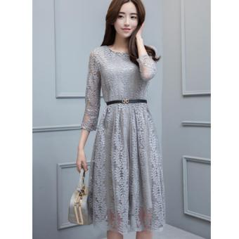 Harga Lace Midi Dress-Grey