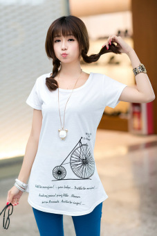 In the long section loose package hip cotton short-sleeved shirt bottoming T-shirt (White bicycle) (White bicycle)