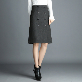 Is still special Korean-style women high-waisted mid-length Skirt (Gray)