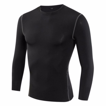 Harga KissU Men's Basic Excercising Top Breathable Compression TightShirt - intl