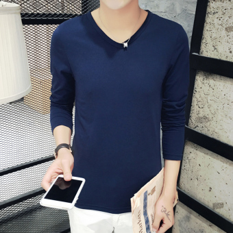 Korean-style autumn New style Slim fit T-shirt (V-neck-dark blue)