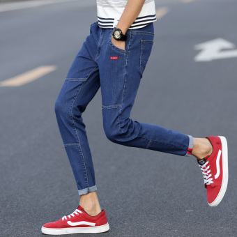 Korean-style autumn Slim fit skinny casual pants jeans (Light Blue)