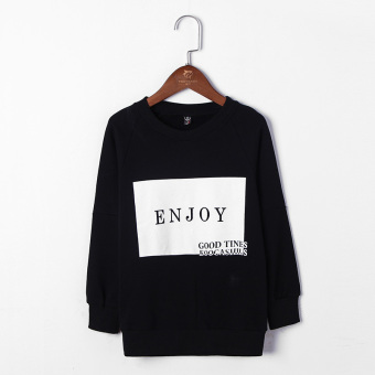 Korean-style boy's long-sleeved New style T-shirt spring bottoming shirt (Black)
