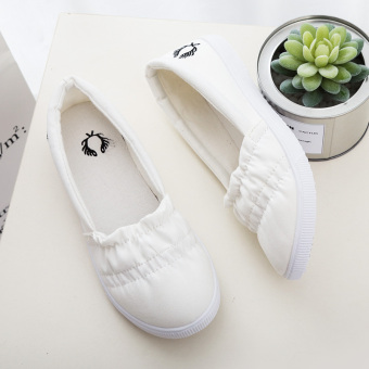 Korean-style canvas lace shoes white shoes (White sets foot) (White sets foot)