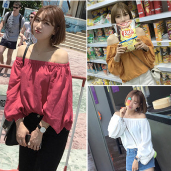 Korean-style cotton linen solid color spring and summer long-sleeved Top girl's shirt (Ginger yellow) (Ginger yellow)