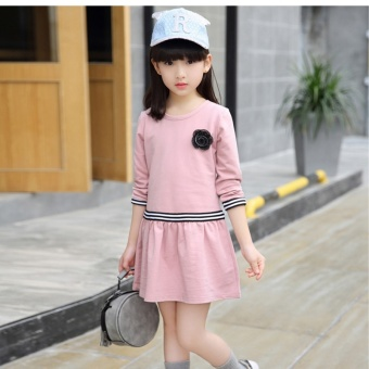 Korean-style cotton Spring and Autumn New style children's skirt dress (Pink)