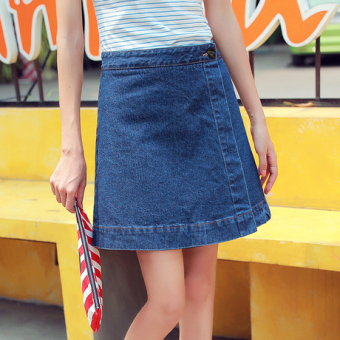Korean-style cowboy New style high-waisted half-length skirt