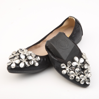 Korean-style crystal New style Spring and Autumn pointed flat shoes (Black/five Flower flower)