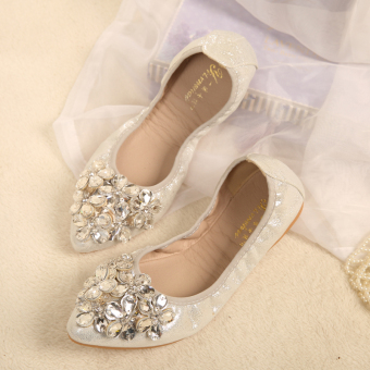 Korean-style crystal New style Spring and Autumn pointed flat shoes (Silver/five Flower flower)
