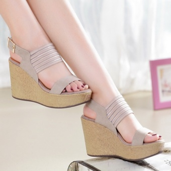 Korean-style female heavy-bottomed muffin flat shoes sandals (Gray)