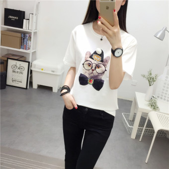 Korean-style female student New style small shirt LOOESN short sleeved t-shirt (White)