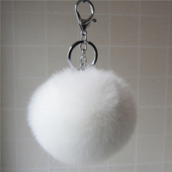 Korean-Style Key Chain Buckle Bag Ornaments Hair Ball Imitation Fox Fur Velvet Pendant Jewelry Small Gift To Send Pendant (White)
